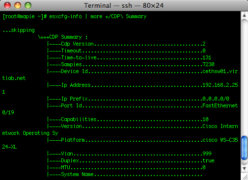 CDP-related output of esxcfg-info