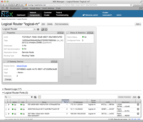Logical router detail in NSX Manager