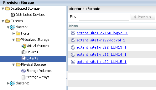 VPLEX extents